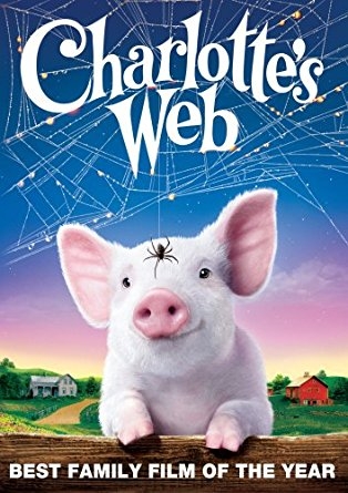 Movie cover of Charlotte's Web; pink piglet with spider on forehead