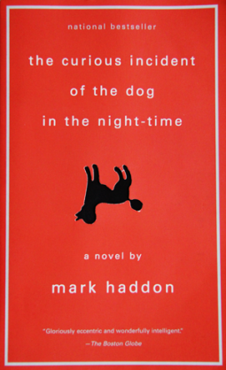 Book cover of the curious incident of the dog in the night time by mark haddon. Read background with upside black poodle in the middle.
