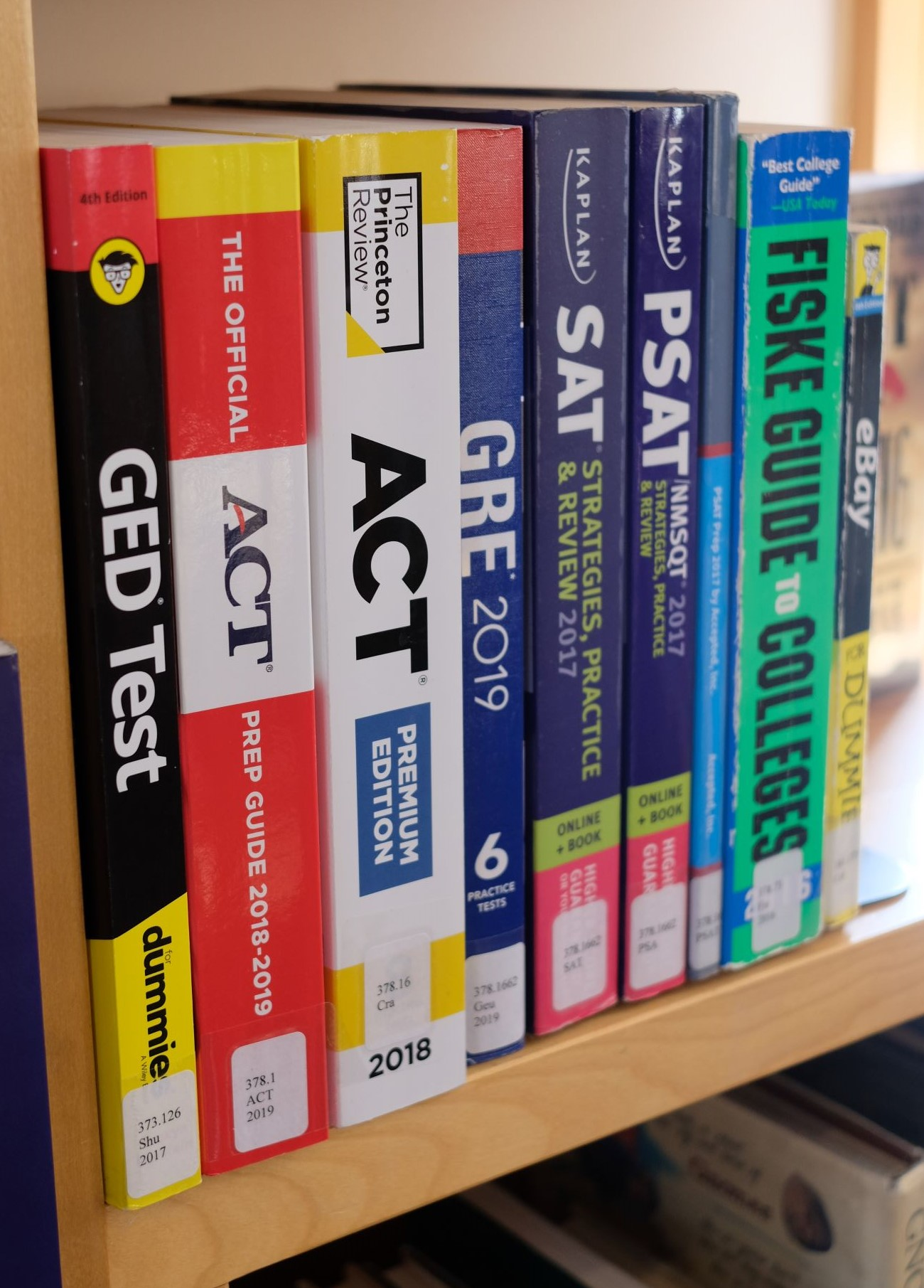 SAT Prep books on the shelf at the Crested Butte Library