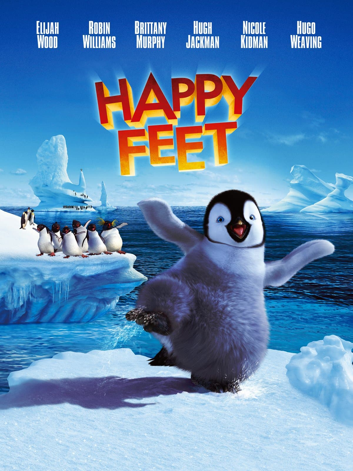 Movie cover of Happy Feet; penguin dancing on ice