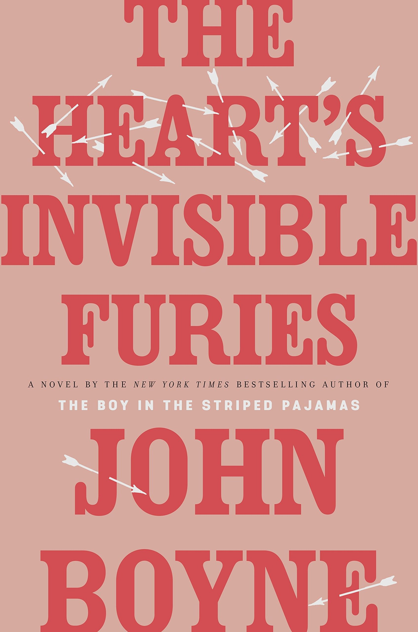 Pink cover with red letters, text