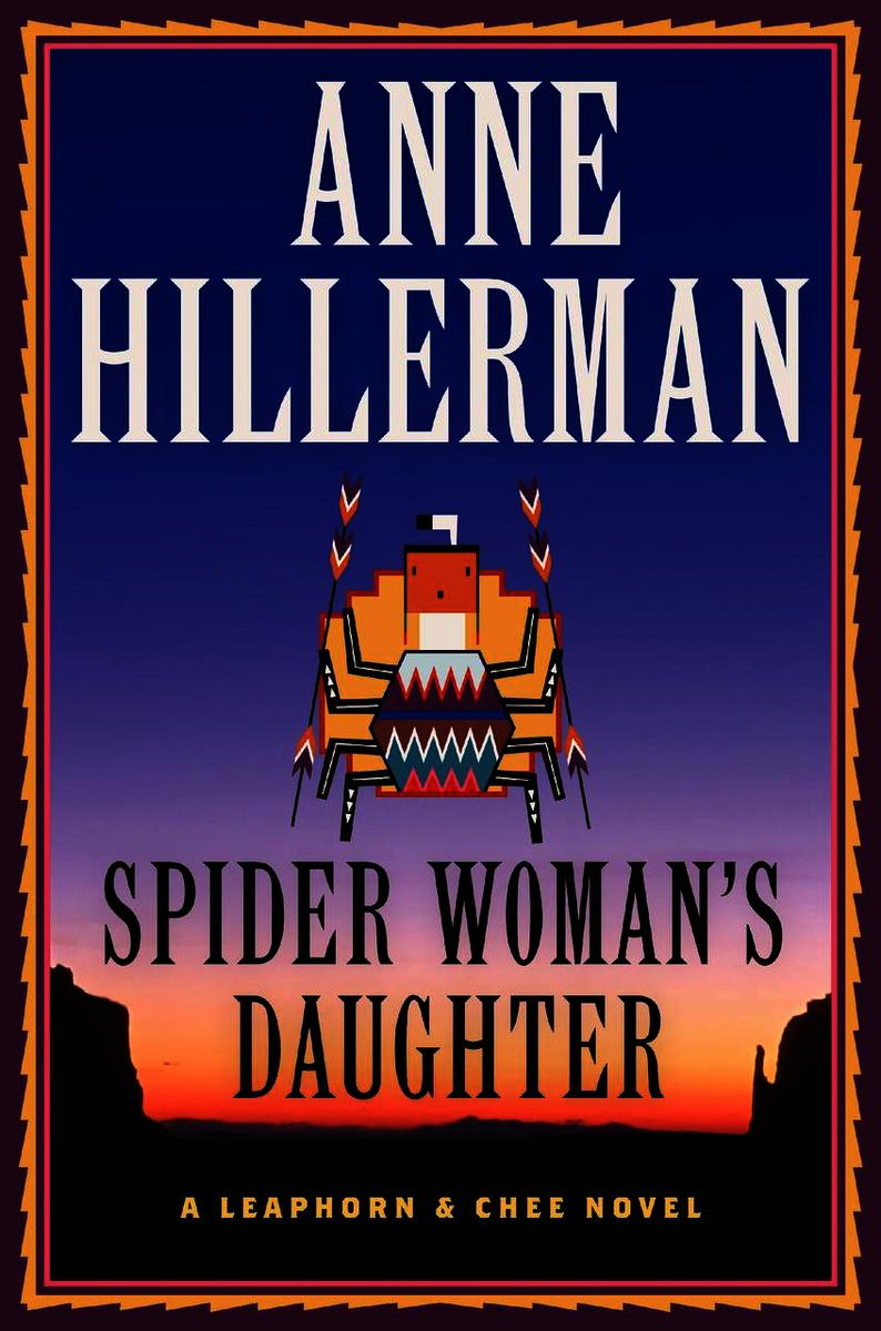 Book cover of Spider Woman's Daughter by Anne Hillerman. Shows New Mexico sunset with native art on foreground.