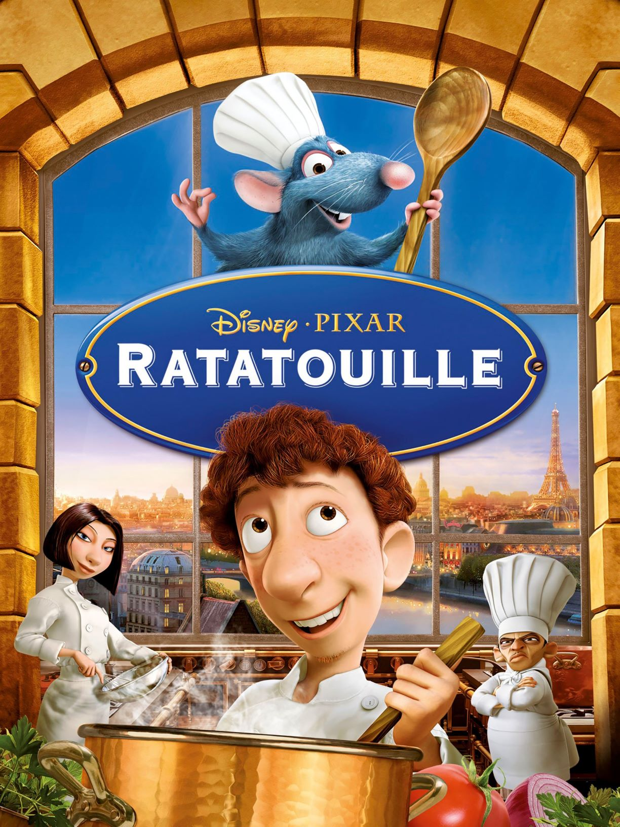 Movie cover of ratatouille showing three human chefs and one rat with chef hat