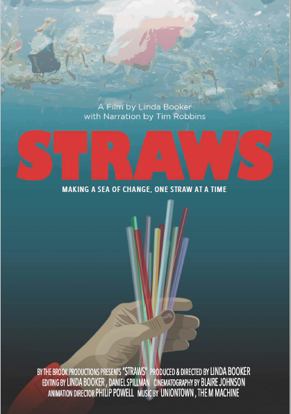 straws movie poster showing a hand holding straws underneath the ocean's surface