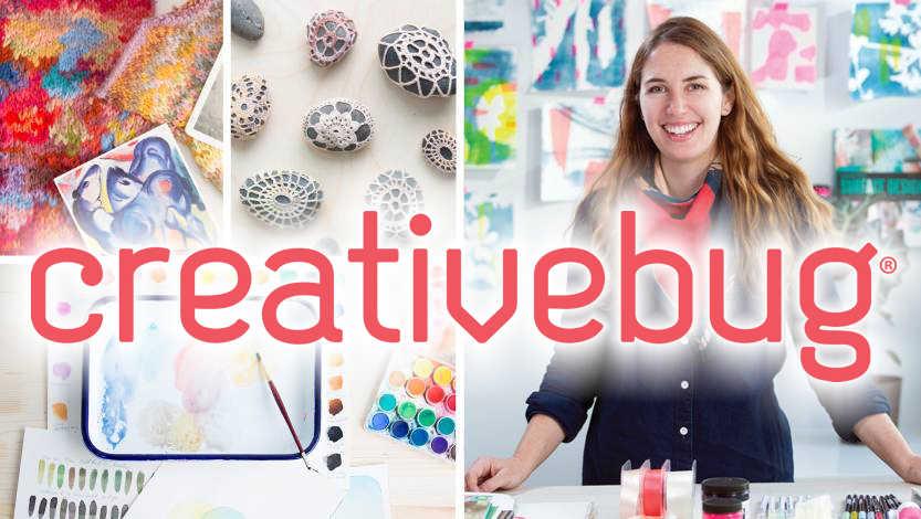 """creativebug"" text, overlay crafting class image"